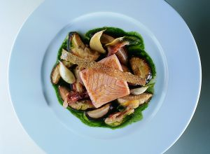 Wild Salmon with Porcini Mushroom and Parsley Sauce