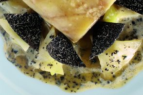 Sea Bass Steak with Leeks, Potatoes and Truffles