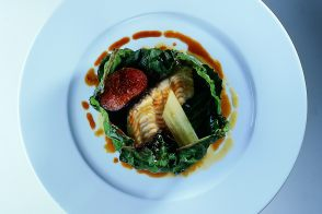 Sole in Fig Leaves with Swiss Chard and a Sweet and Sour Sauce