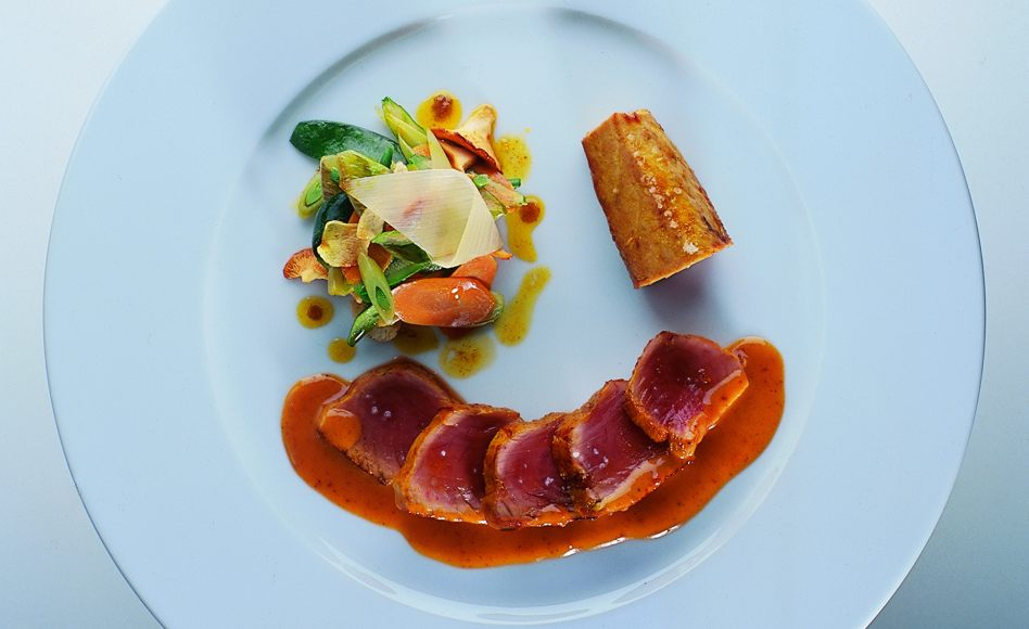 Seared Tuna with Stir-Fried Vegetables and Satay Sauce