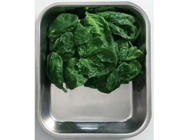 Trim (de-stem) spinach