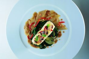 Grenoble-Style Spit-Cooked Turbot with Tender Swiss Chard