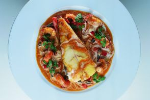 Wild Turbot with Red-Clawed Crayfish, Black Truffles, and Cream Sauce