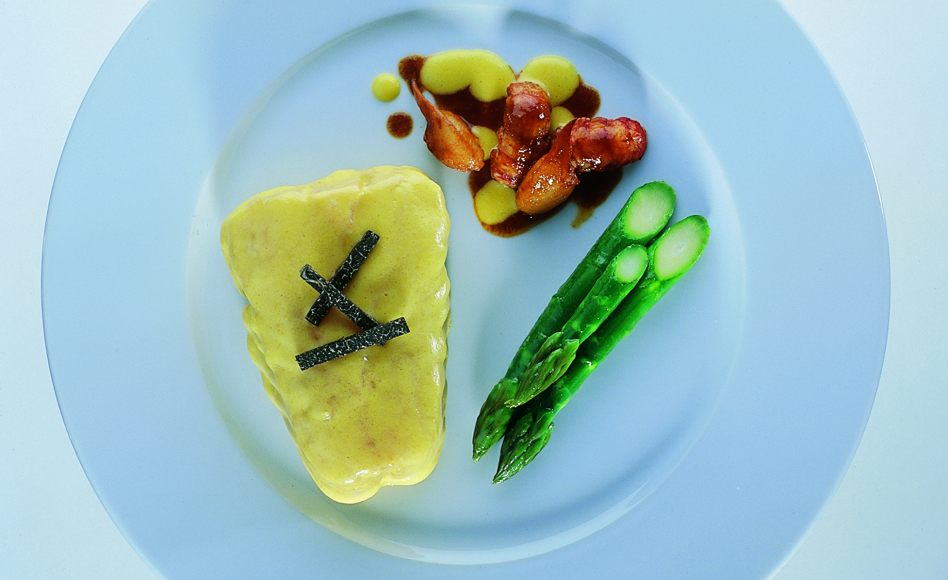 Champagne-Glazed Turbot with Asparagus and Crayfish