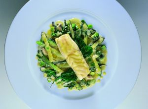 Braised Wild Turbot with a Green Vegetable Sauté