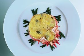 Spider Crab with Sautéed Asparagus, Chanterelle Mushrooms, and Crab Sauce