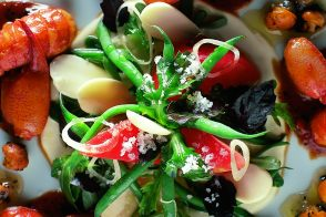 Warm Crayfish Salad with Green Beans and Purslane