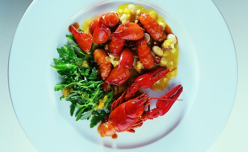 Roasted Crayfish with Arugula and Cranberry Bean Salad