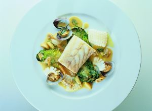 Sea Bass in Lemon Sauce with Cuttlefish and Clams