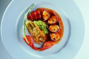 Grilled Lobster with Zuchetta and Stuffed Zucchini Blossoms