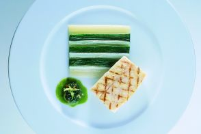 Grilled Sea Bass Fillets with Zucchini and Swiss Chard