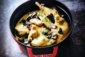 Bresse chicken fricassée with morel mushrooms