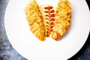 Red mullet with potato scales