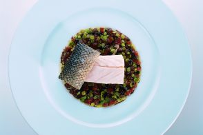 Baked Sea Bass with Baby Broad Beans, Tomatoes and Truffle