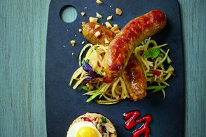 Thai sausage green papaya slaw and basil fried rice