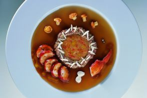 Lobster Aspic with Fresh Almonds and Chanterelle Mushroom Sauce