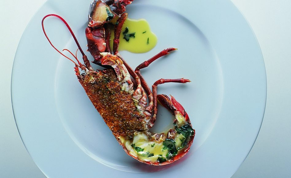 Flame-Grilled Lobster with Basil Butter