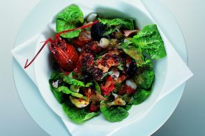 Blue Lobster Salad with Supions and Tapenade Dressing