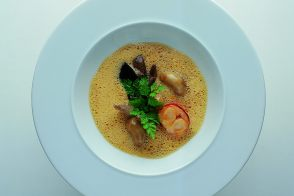 Cream of Lobster and Mushroom Soup with a Porcini and Morel Mushroom Ragout