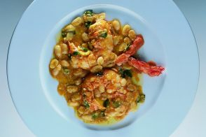Royal Spiny Lobsters with Fresh White Pigna Beans and Roe Sauce