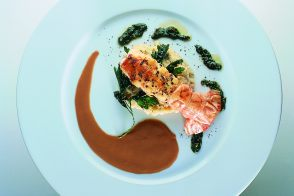Griddled Langoustines with Coco Bean Purée and Chutney
