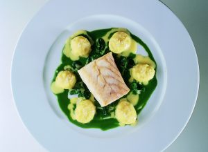 Seared Sea Bass with Stuffed Potatoes and Watercress Sauce