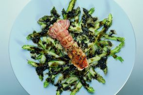 Roasted Langoustines with Asparagus and Pissalat Dressing