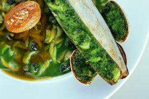Shellfish in Green Sauce with Buttery Potatoes
