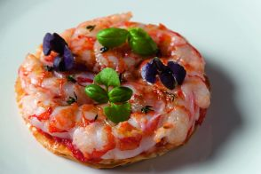 "Shrimp, tomato, and basil ""pizza"""