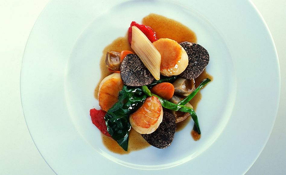 Sautéed Scallops with Sautéed Truffles and Browned Butter Sauce