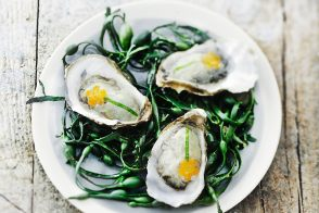 Iced poached oysters