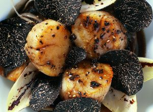 Grilled Scallops with Endive and Sliced Truffles