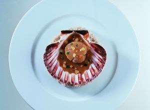 Broiled Scallops with Grenobloise