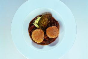 Seared Scallops with Cabbage and Chestnut Sauce