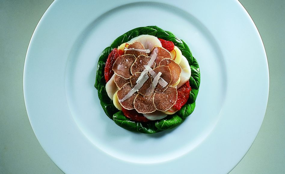 Chilled Scallop Salad with Potatoes, Tomatoes, Parmesan, and White Truffle