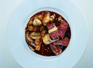 Prime Rib with Celery Root and Chestnuts in a Braised Oxtail Sauce