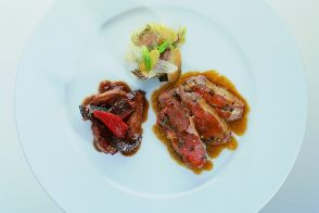 Spit-Cooked Lamb Au Jus with Offal and Sautéed Vegetables