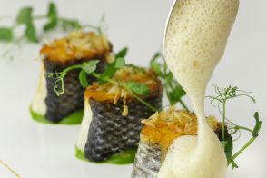 Line-Caught Sea Bass, Pea Puree and Cream Sauce by Arnaud Lallement