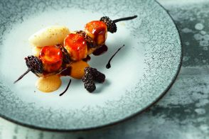Banana and Morel Skewers with Spice Cake and Balsamic Vinegar by Régis Macron