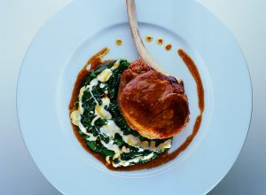 Roast Country Veal Chops with Spinach