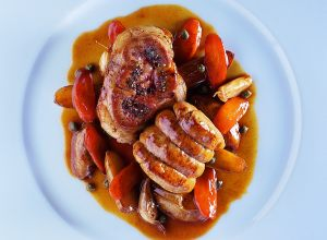 Roast Veal Tenderloin with Thick-Sliced Kidney, New Potatoes, Carrots and Capers