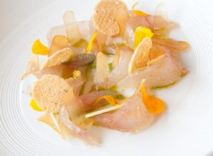 Black Mullet Crudo with Bottarga and Lemon-Basil Oil by Thibault Sombardier