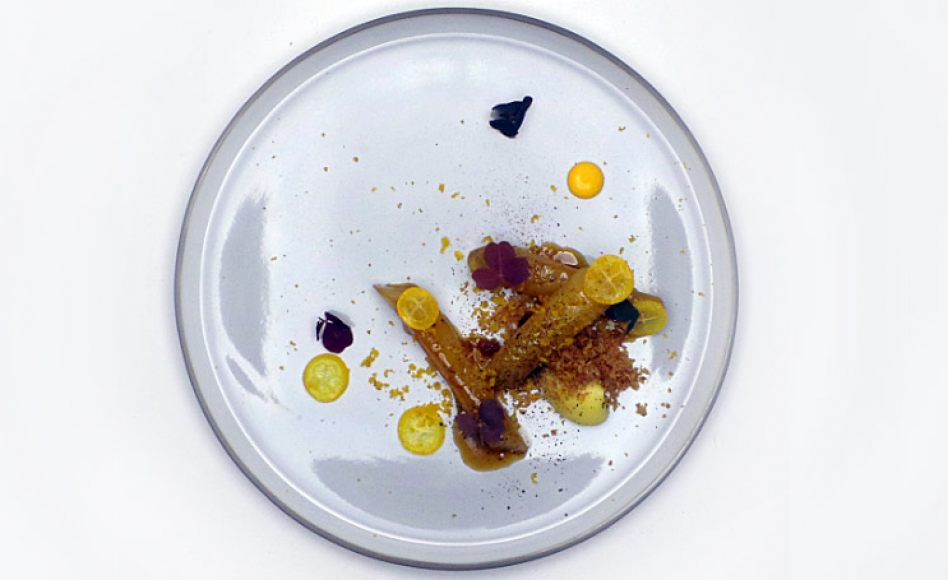 Honey-Glazed Salsify, Parsnip Crumble, Masbachet Kumquat by Gregory Marchand