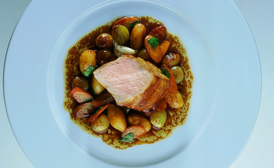 Roasted Leg of Veal au Jus with Simmered Vegetables
