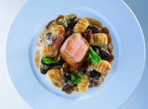 Glazed Veal Leg with Large Potato Gnocchi and Morels