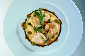 Veal Blanquette with Spring Vegetables in a Truffle Coulis