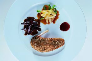 Spiced Duckling with Glazed Beets and Turnips in Sweet and Sour Sauce