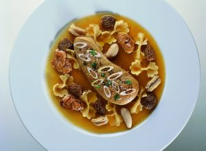 Foie Gras with Simmered Giblets, Morels and Farfalle