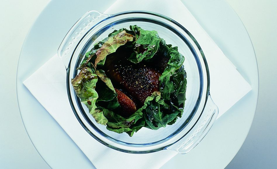 Duck Foie Gras Cooked in Grape Leaves with Aged Vinegar Sauce