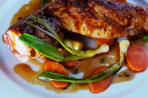 Spit-Cooked Rabbit Hindquarters with Baby Vegetables